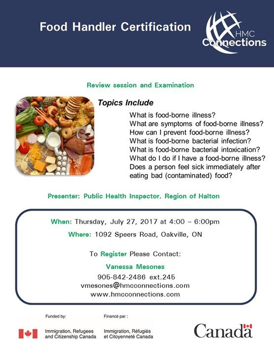 Food Handler Certification Review And Examination At Oakville