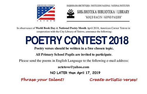 Poetry Contest 2019 at American Corner Tetovo/ Educationusa