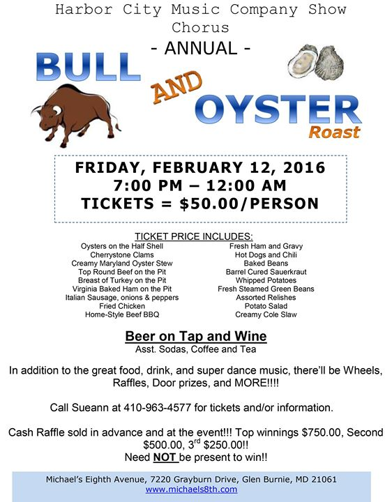Hcmc annual bull and oyster roast at michael 39 s eighth for Michaels arts and crafts virginia beach