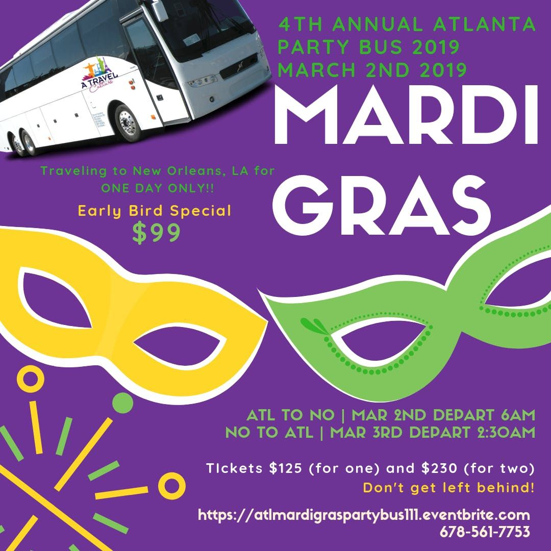 4th Annual Atlanta Mardi Gras Party Bus Alcohol included 2019
