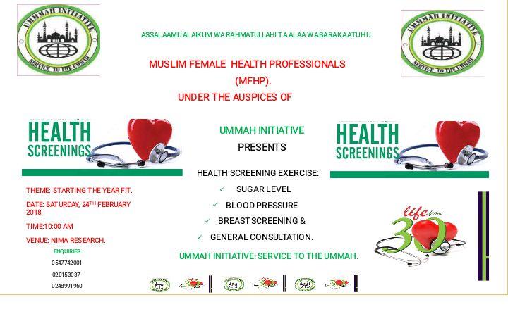 HEALTH SCREENING EXERCISECOURTESY MUSLIM FEMALE HEALTH PROFESSIONALS MFHP