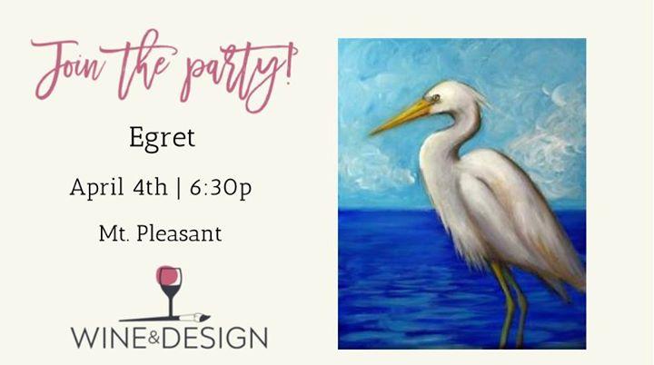Paint Sip Class Egret At Wine Design Mount Pleasant