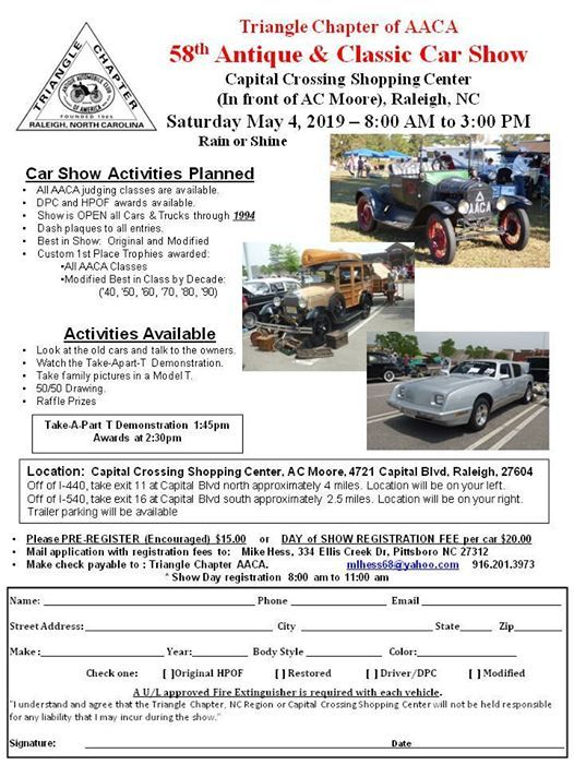Raleigh Car Show >> 58th Annual Antique Classic Car Show At 4721 Capital Blvd Raleigh