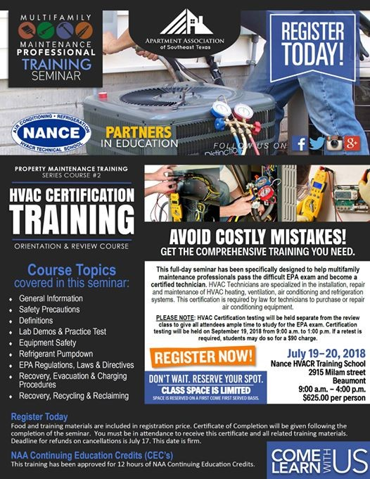 Hvac Certification Course At Nance Universal Hvacr Technical School
