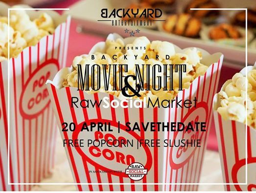 Back yard movie night & Raw social market