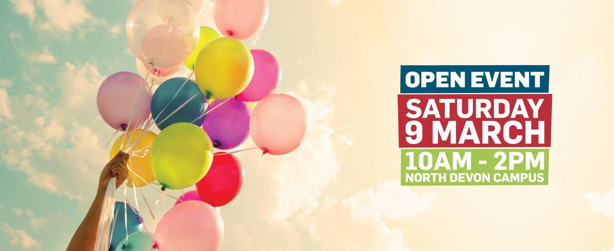 Petroc Saturday Open Day register for tailor made sessions