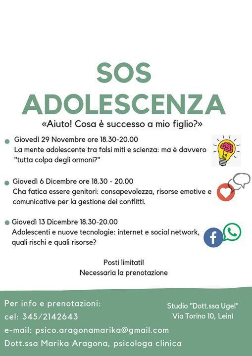 SOS Adolescenza Ciclo di incontri dedicati ai genitori
