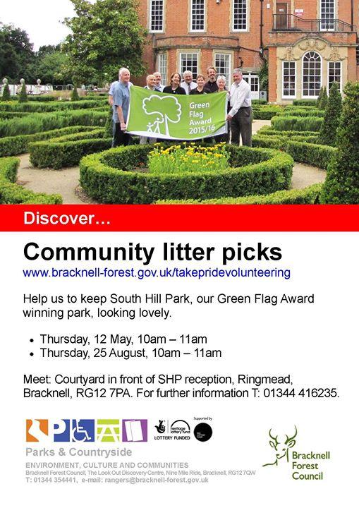 Sheffield Music Festival Garden Walk: Community Litter Picks At South Hill Park, Bracknell