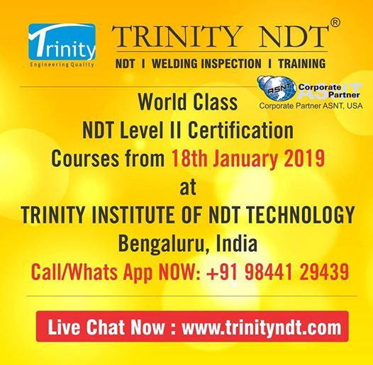 January 2019 Trinity NDT Courses & Certification Training India