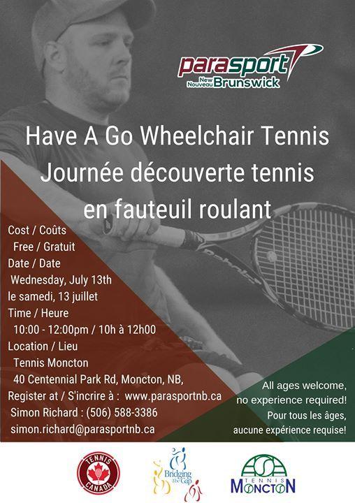 regarder ad767 21e34 Wheelchair Tennis Have A Go! at Tennis Moncton, Moncton