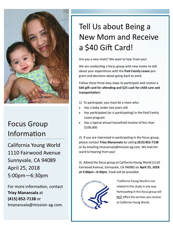 Sunnyvale Paid Family Leave Focus Group at California Young