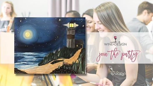 Paint Night With Wine Design Lighthouse Moon At Wine Design