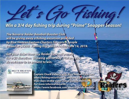 Fishing Trip Give-Away presented by NHS Baseball Booster