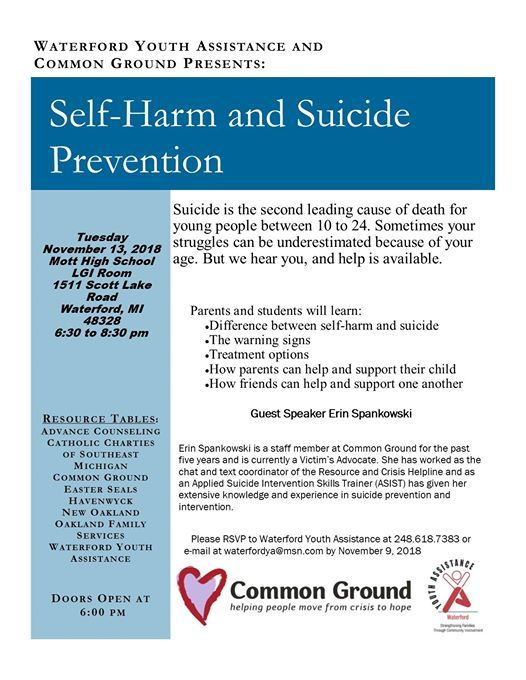 Self-Harm and Suicide Prevention Seminar