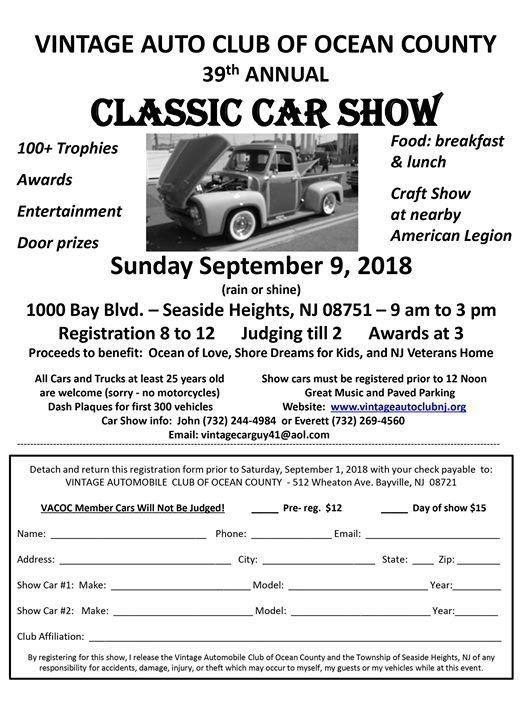 Vintage Automobile Club Of Ocean County Th Annual Car Show At Bay - Bay city car show 2018