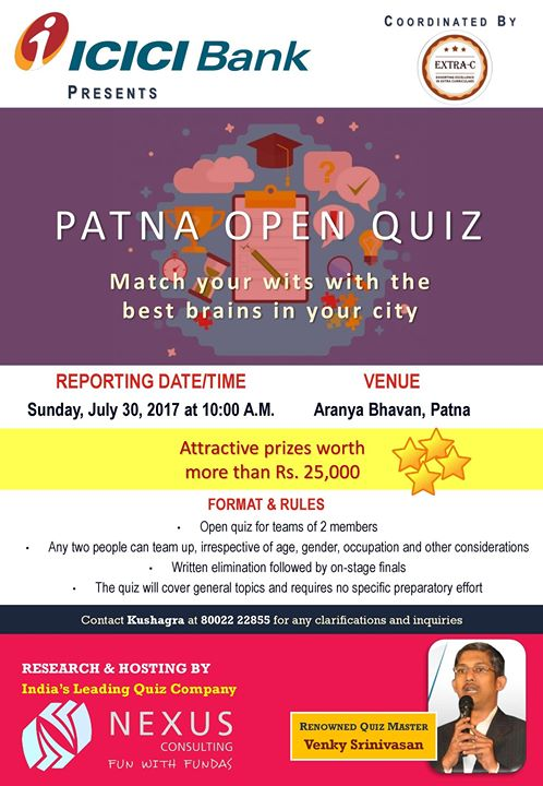 PATNA OPEN QUIZ (Attractive prizes worth more than Rs