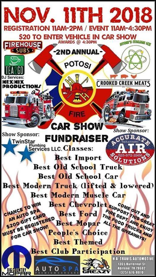 ND ANNUAL PVFD CAR SHOW At Potosi Volunteer Fire Department Abilene - Car show abilene tx