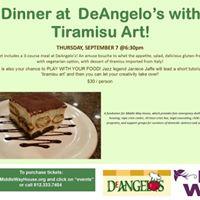 Dinner At DeAngelos with Tiramisu Art