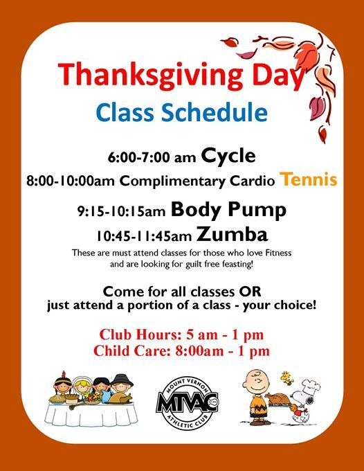 Thanksgiving Hours Class Schedule At Mount Vernon Athletic Club