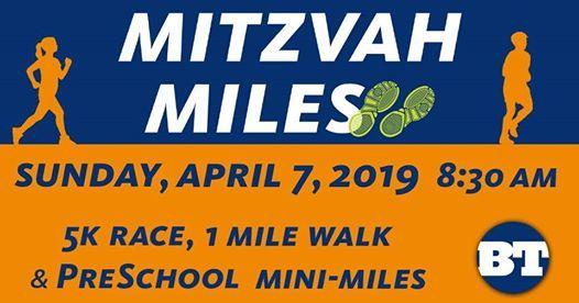 Mitzvah Miles 5K Race 1 Mile Family Walk & PreSchool Mini-Miles
