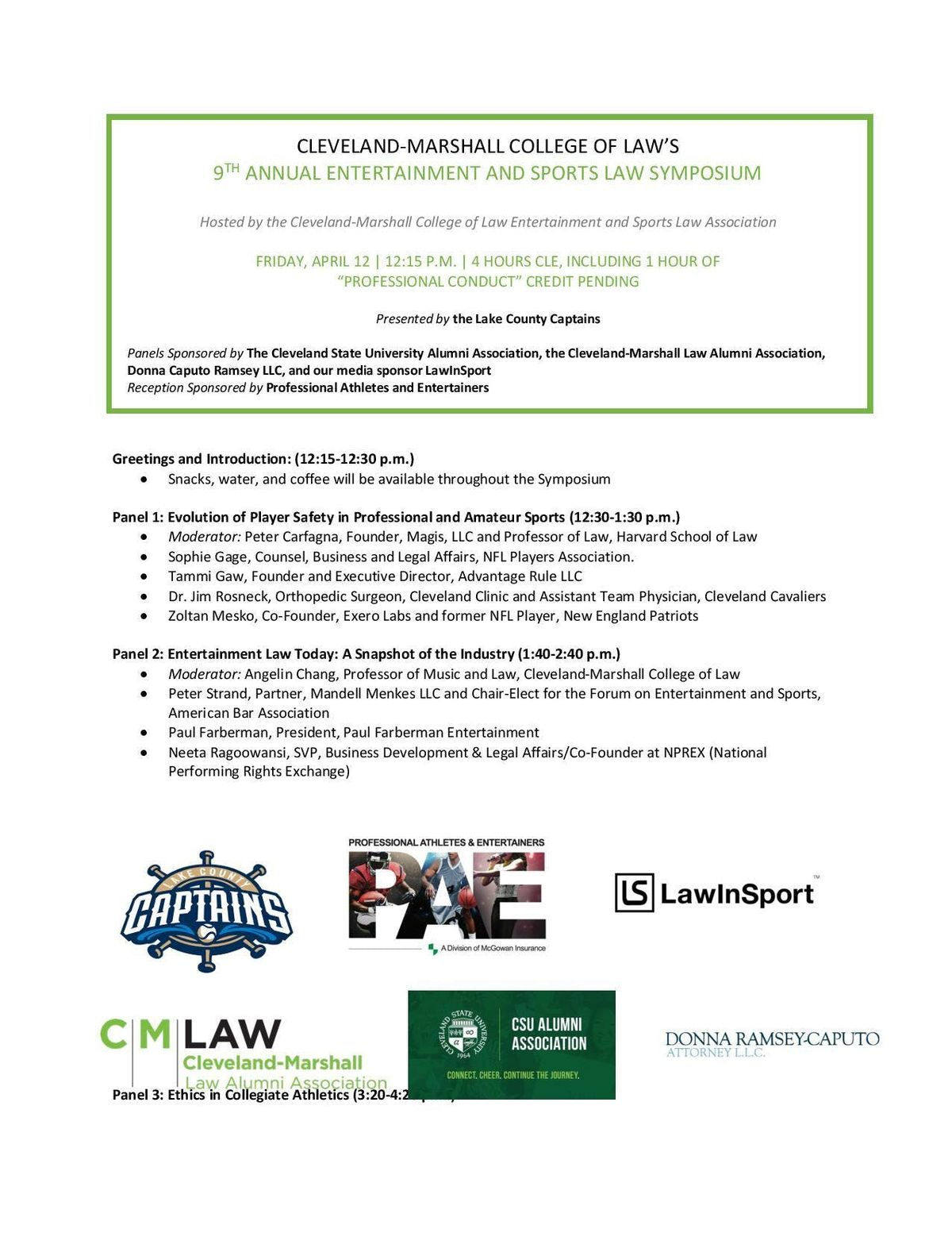 Cleveland-Marshall College of Laws 9th Annual Entertainment and Sports Law Symposium
