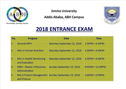 Entrance Exam for Jimma University in Addis Programs at ABH