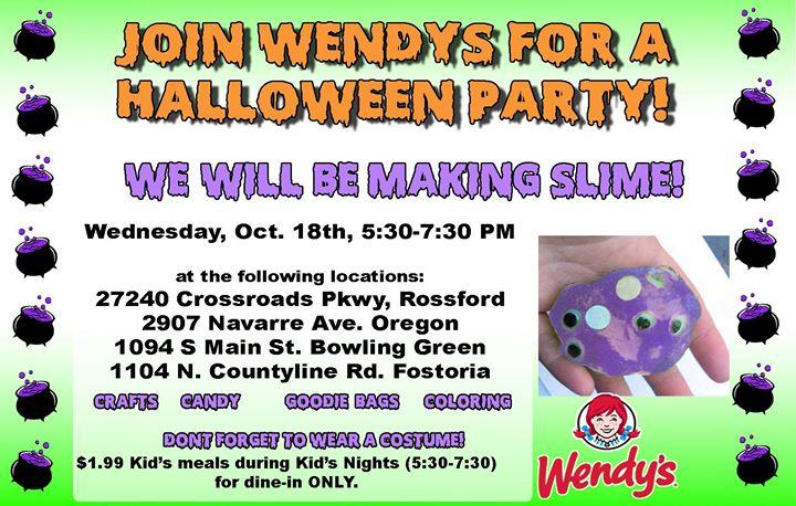 wendys kids club halloween party