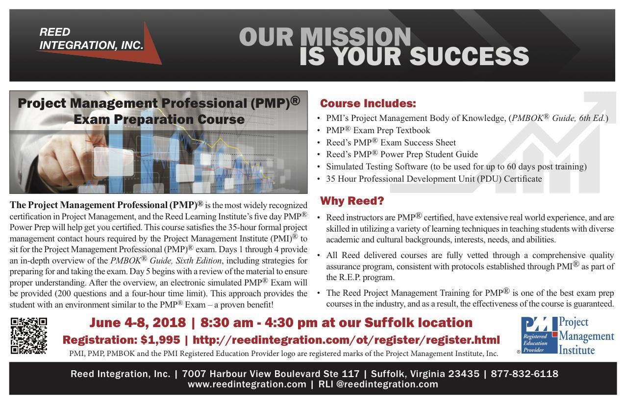 Pmp Power Prep June 4 8 2018 Suffolk Va At Reed Integration