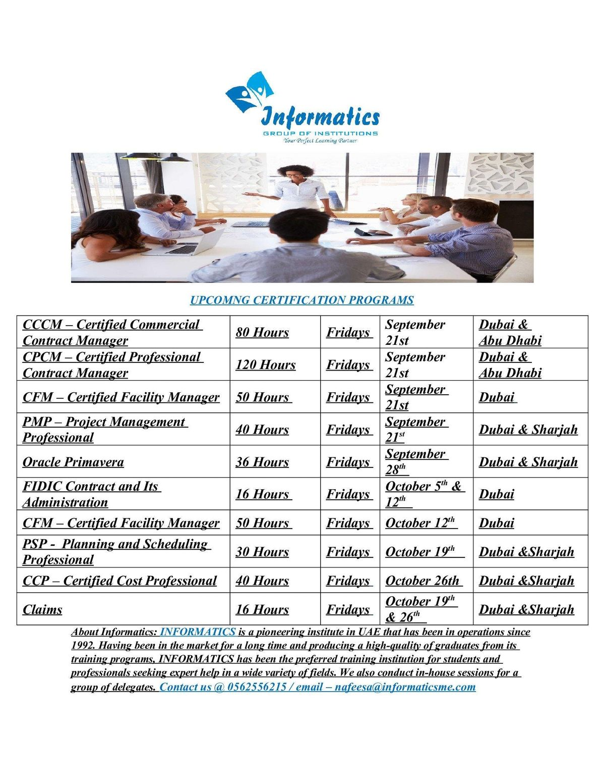 Upcoming Certification Programs Informatics Group Of Institutions