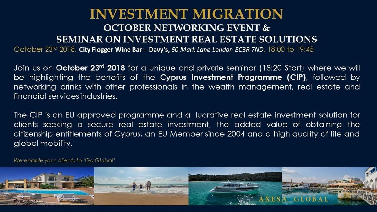 Investment Migration - Real Estate Investment (Networking