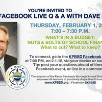 KPBSD Live Q &amp A Whats in a Budget Nuts &amp Bolts
