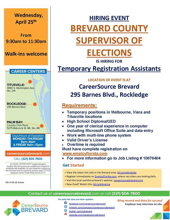 brevard co supervisor of elections recruiting event at 295 barnes