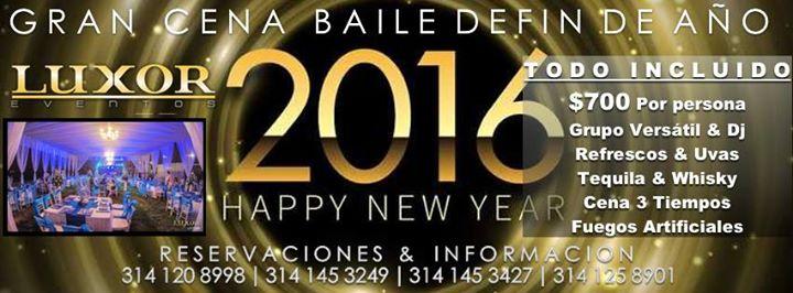 Cena baile fin de a o 2016 at eventos luxor lounge for Cenas para fin de ano