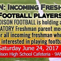 Edison Football Freshman Parent Meeting 2017