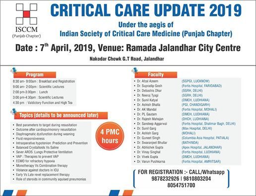 Critical Care Update 2019 at DRD Branding & Event Solutions, Jalandhar