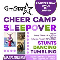 Cheer Camp Sleepover For current and future cheersleaders