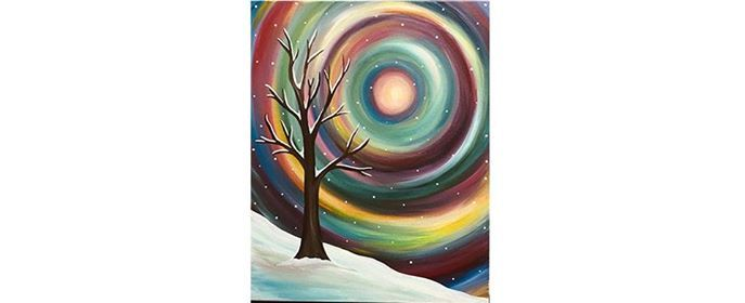 Saturday 112 Colorful Winter Tree Paint