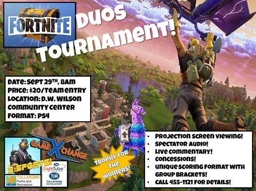 Fortnite Duos Tournament at Tullahoma Parks and Recreation