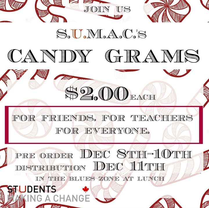 SUMAC Christmas Candy Gram Sale! At Blues Zone, Port Moody