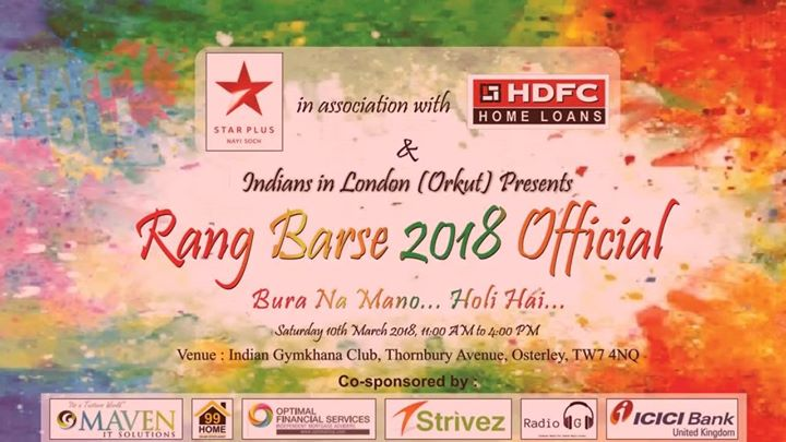 Indians In London (Orkut) Holi Rang Barse 2018 Official