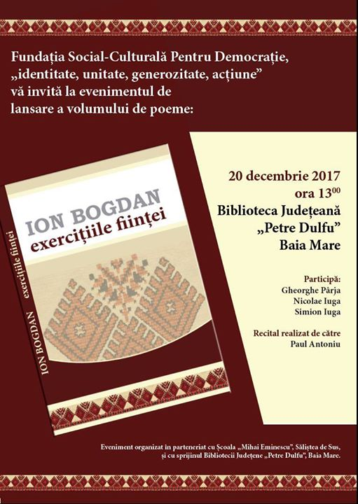 Lansare volum poeme Ion Bogdan Exercitiile fiintei.