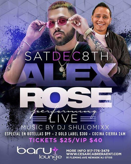 Alex Rose Performing LIVE Saturday Dec 8th at Baru Lounge NJ