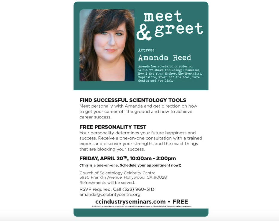 Meet greet actress amanda reed at church of scientology celebrity meet greet actress amanda reed m4hsunfo