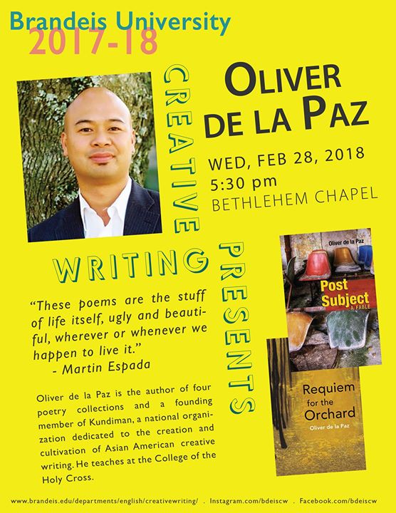 Reading by Poet Oliver de la Paz