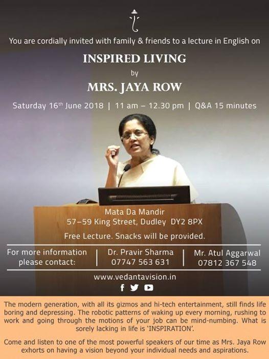 Talk by Mrs. Jaya Row on Inspired Living in Birmingham