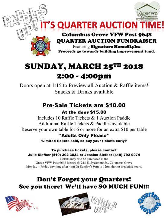 Columbus Grove VFW Quarter Auction Fundraiser Featuring Signature