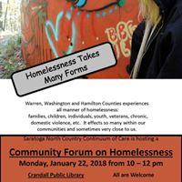 Warren Washington and Hamilton Community Forum on Homelessness