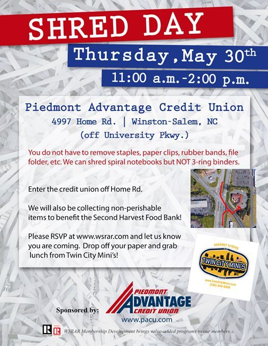 May 30 Shred Day at Piedmont Advantage Credit Union, Carolina