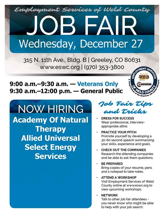 ESWC Onsite Job Fair at 315 North 11th Ave, Building B Greeley, CO ...