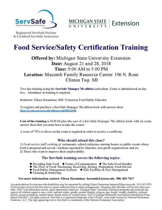 Food Service/Safety Certification Training at Michigan State ...